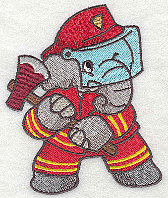 Embroidery Design: Elephant fireman with axe large 3.81w X 4.66h