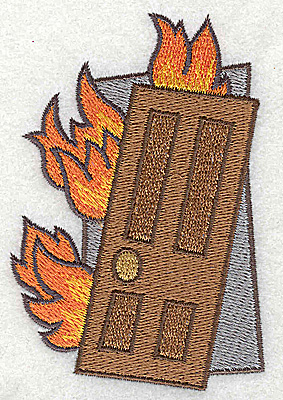 Embroidery Design: Burning building 2.51w X 3.75h