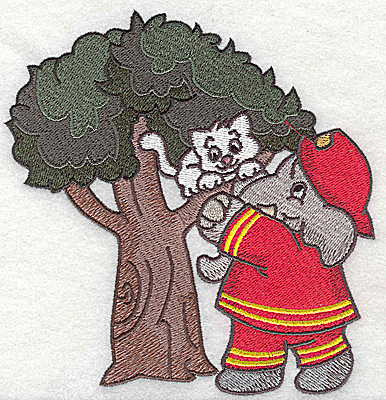 Embroidery Design: Fireman rescuing kitten from tree 4.93w X 5.19h