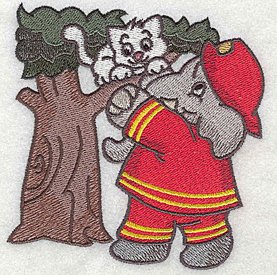 Embroidery Design: Fireman rescuing kitten from tree small 3.84w X 3.85h