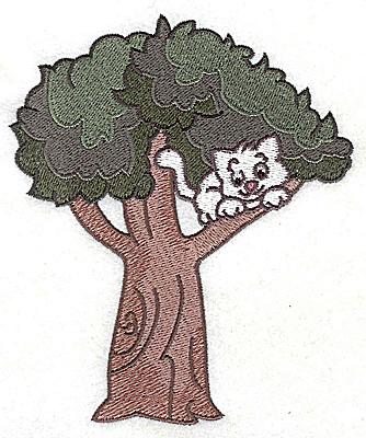 Embroidery Design: Kitten in tree4.19w X 5.02h