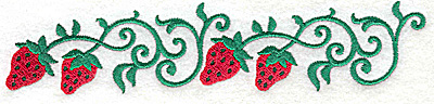 Embroidery Design: Strawberry border 6.98w X 1.49h