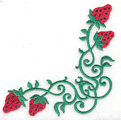 Embroidery Design: Strawberry corner 3.89w X 3.89h