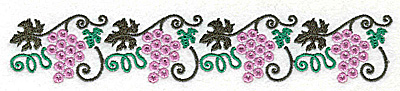 Embroidery Design: Grape border 6.90w X 1.25h