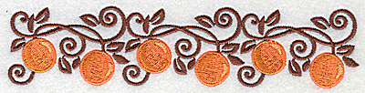 Embroidery Design: Orange border 6.91w X 1.57h