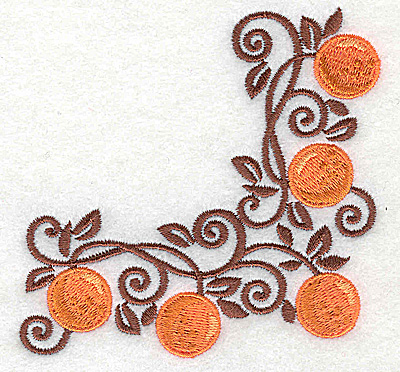 Embroidery Design: Orange corner 3.70w X 3.70h