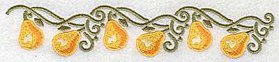 Embroidery Design: Pear border 6.97w X 1.34h