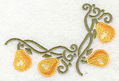 Embroidery Design: Pear corner 3.88w X 2.67h
