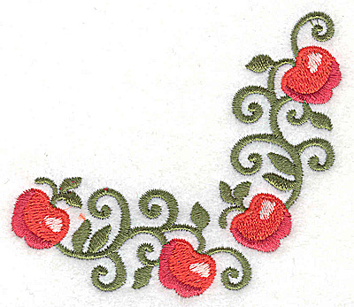 Embroidery Design: Apple corner 3.51w X 3.19h