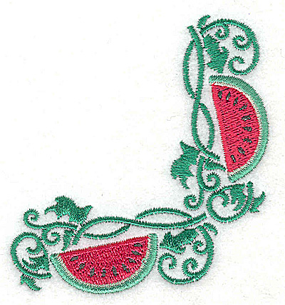 Embroidery Design: Watermelon corner 2.91w X 3.17h