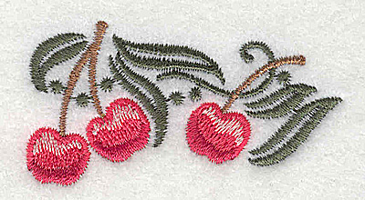 Embroidery Design: Cherries 2.47w X 1.31h