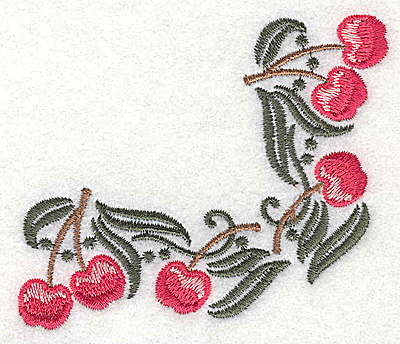Embroidery Design: Cherry corner 3.32w X 2.93h
