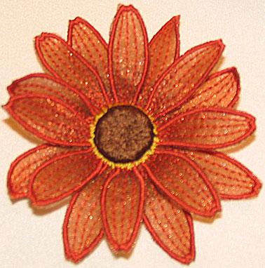 "Embroidery Design: Aster 3D Flower small 3.78""w X 3.78""h"