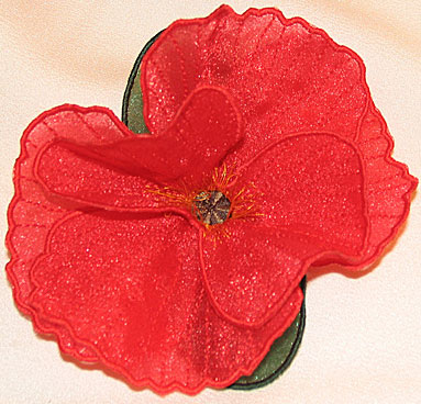 "Embroidery Design: Poppy 3D Flower small5.09""w X 3.49""h"