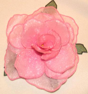 "Embroidery Design: Rose 3D Flower small5.35""w X 5.0""h"