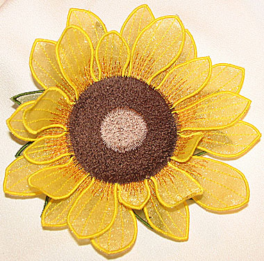 "Embroidery Design: Sunflower 3D Flower small5.12""w X 5.0""h"