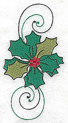 Embroidery Design: Holly with swirls large 2.55w X 4.89h
