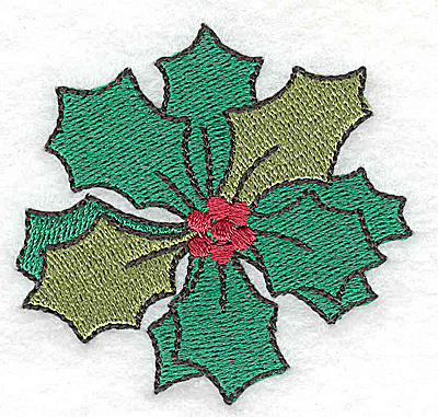 Embroidery Design: Holly with berries 2.55w X 2.45h