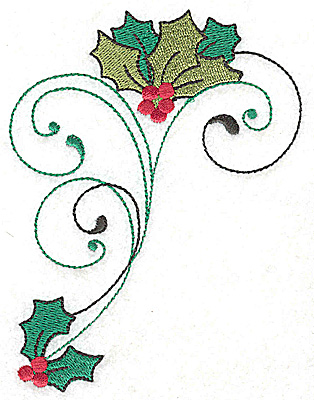 Embroidery Design: Hollys berries and swirls large 3.72w X 4.95h