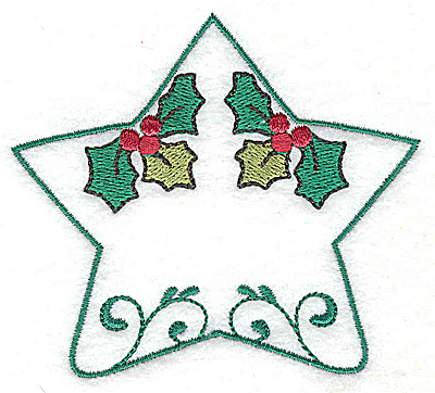 Embroidery Design: Holly star design 3.62w X 3.19h