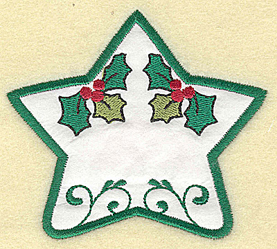 Embroidery Design: Holly star applique design small 3.85w X 3.40h
