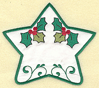 Embroidery Design: Holly star applique design large 4.93w X 4.35h