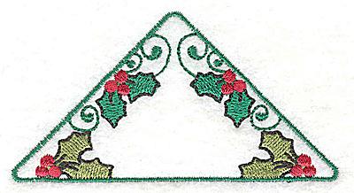 Embroidery Design: Triangular shape with mistletoe 3.69w X 1.94h