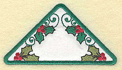 Embroidery Design: Holly in triangle applique small 3.87w X 2.13h