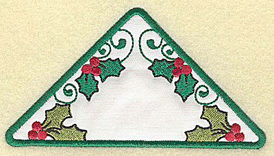 Embroidery Design: Holly in triangle applique large 4.94w X 2.68h