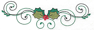 Embroidery Design: Horizontal Holly with swirls 6.95w X 2.08h