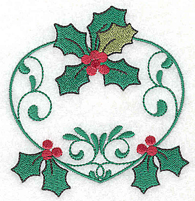 Embroidery Design: Heart with Holly 3.51w X 3.72h