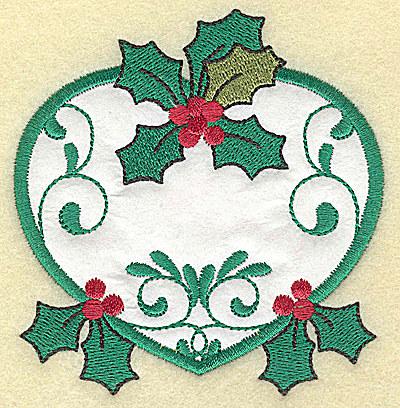 Embroidery Design: Heart with Holly applique small 3.63w X 3.78h