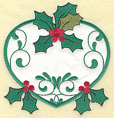 Embroidery Design: Heart with Holly applique large 4.63w X 4.91h