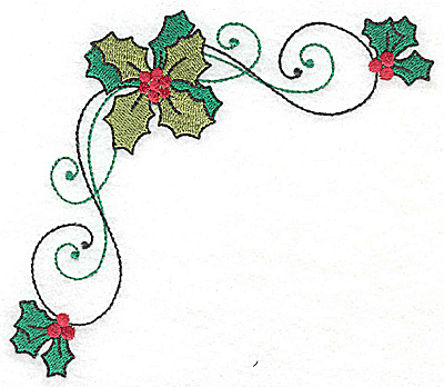 Embroidery Design: Holly corner large 4.86w X 4.86h