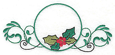 Embroidery Design: Holly in circle  4.89w X 2.18h