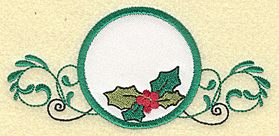 Embroidery Design: Holly in applique circle small 4.99w X 2.35h