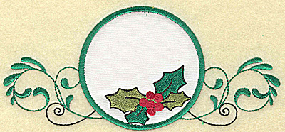 Embroidery Design: Holly in applique circle large 6.99w X 3.18h