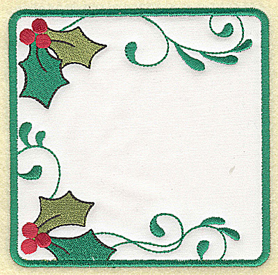 Embroidery Design: Holly design in square applique large' 4.90w X 4.90h