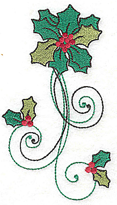 Embroidery Design: Holly vertical design large 2.78w X 4.96h