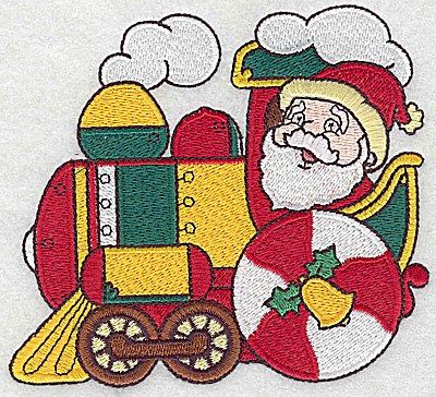 Embroidery Design: Locomotive with Santa large 4.90w X 4.36h