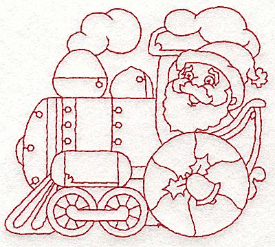 Embroidery Design: Locomotive with Santa redwork 3.82w X 3.39h