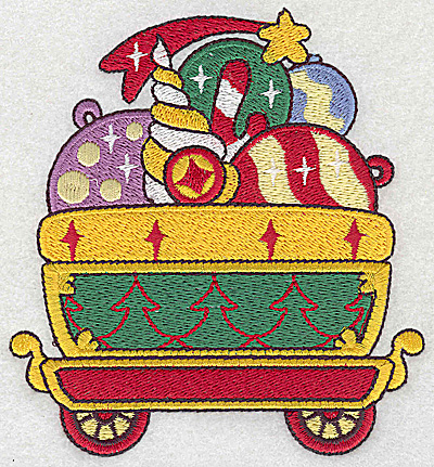Embroidery Design: Train with ornaments large 4.44w X 4.80h