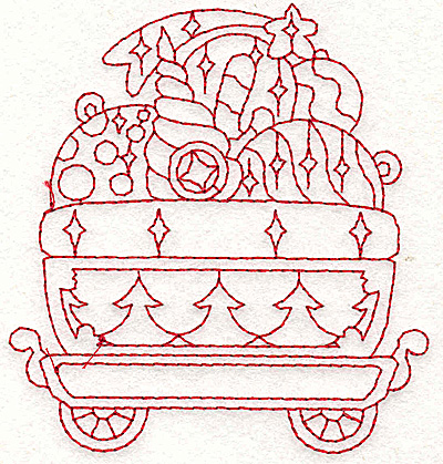 Embroidery Design: Train with ornaments redwork 3.45w X 3.73h