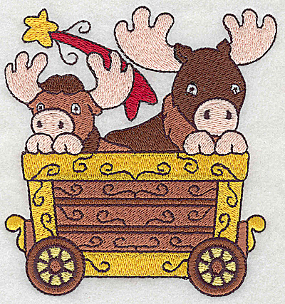 Embroidery Design: Train with moose large 4.51w X 4.81h