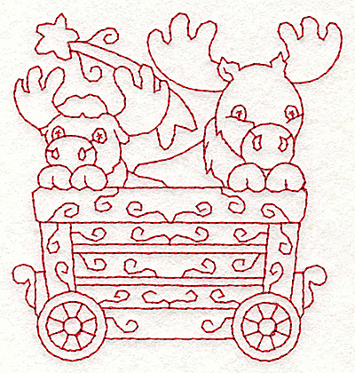 Embroidery Design: Train with moose redwork 3.51w X 3.74h