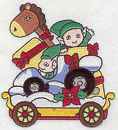 Embroidery Design: Train with elves large 4.30w X 4.74h