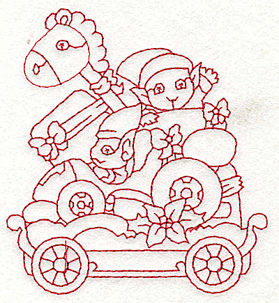 Embroidery Design: Train with elves redwork 3.30w X 3.70h
