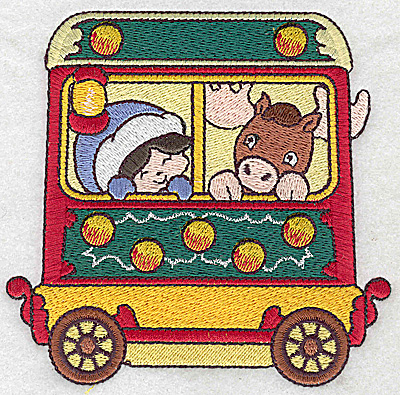 Embroidery Design: Train with child and moose large 4.80w X 4.64h