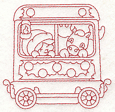 Embroidery Design: Train with child and moose redwork 3.73w X 3.61h