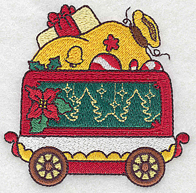 Embroidery Design: Train with Santa's sack small 3.56w X 3.52h